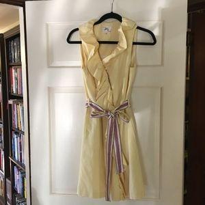 MILLY Ruffle wrap collar dress